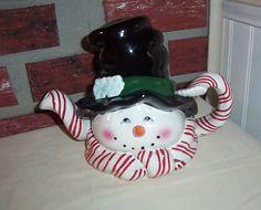 "CERAMIC "" CANDY CANE SNOWMAN "" TEAPOT - 10 X 7 1/2 INCHES | eBay"
