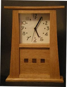 arts and crafts clock face - Google Search Craftsman Clocks, Craftsman Furniture, Craftsman Style, Old Clocks, Vintage Clocks, Mission Furniture, Fine Woodworking, Woodworking Ideas, Arts And Crafts Furniture