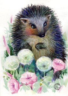 """Hedgehog in Dandelions"" par Oxana Zaika"