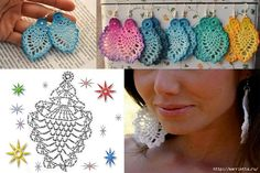 alice brans posted Crochet diagram to make earrings, Spanish site to their -crochet ideas and tips- postboard via the Juxtapost bookmarklet. diagram for crochet earings! more diagrams on site :) … Divinos aros tejidos al crochet. Crochet Jewelry Patterns, Crochet Earrings Pattern, Crochet Bracelet, Crochet Accessories, Crochet Motif, Crochet Flowers, Knitting Patterns, Knit Crochet, Knitting Charts