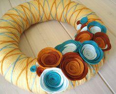 Yarn Wreath Felt Handmade Door Decoration   Crossing by ItzFitz, $40.00