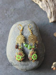 Monthly Challenge, Flower Center, Clay Creations, Polymer Clay Earrings, Bead Art, Chandelier Earrings, Green And Brown, Shades Of Green, Evergreen