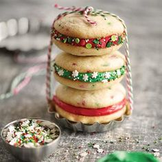 Holiday Funfetti® Sandwich Cookies | Host a Cookie Party.... use as an idea but make from scratch