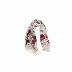 Pashmina Floral Púrpura e Off White de Viscose #pashmina #pashimina #modafeminina #fashion #scarf #scarfs