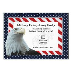 Military Going Away Party Invitations (Marines) - features red, white and blue design with a bald eagle and the eagle, globe and anchor insignia behind the text. Also available for other military branches