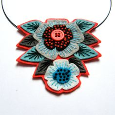 Felt pendant 'STATEMENT' necklace with freeform embroidery on co-ordinating wire necklace