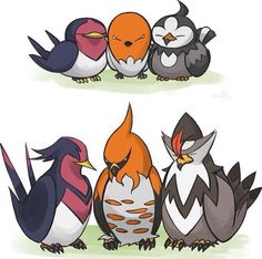 Taillow/Swellow, Fletchling/Talonflame, Starly/Staraptor