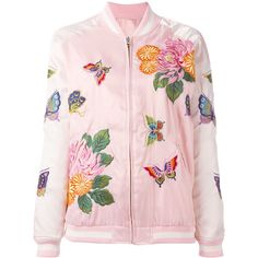 P.A.R.O.S.H. floral embroidery bomber jacket (1.010 BRL) ❤ liked on Polyvore featuring outerwear, jackets, pink, pink jacket, bomber jackets, floral embroidered bomber jacket, pink bomber jackets and bomber style jacket