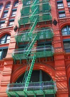 Green Fire escape - NYC - by lakshmi partha