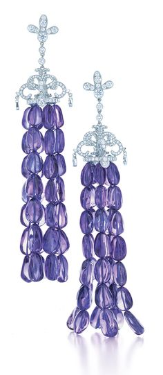 Tiffany & Co. tassel earrings with diamonds in platinum, from the 2013 Blue Book collection with tanzanite beads.  Via the Jewellery Editor.