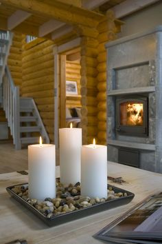 Fireplace in a scandinavian log house. Photo Honka. http://wp.me/p2Pur0-21R