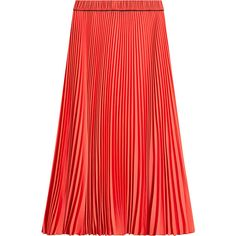 Marc Jacobs Pleated Skirt (2 540 SEK) ❤ liked on Polyvore featuring skirts, bottoms, red, marc jacobs skirt, coral midi skirt, red knee length skirt, coral pleated skirt and coral skirt