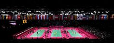 Players compete in Badminton during Day 1 of the London 2012 Olympic Games at Wembley Arena on July 28, 2012 in London, England.