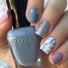 """Matte ✖️ Marble Featuring @zoyanailpolish """"August"""" (grey) and Rue (dusty pink nude) love this color combo Tutorial coming soon ✨ Thanks so much for all the support on my last post I read each and every comment. After taking some time off it feels good to get back to nail art"""