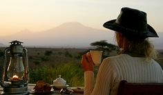 Tortilis Camp near Amboseli Kenya, oil lamp, morning tea
