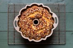 Contributor Jamie Feldmar gave us this recipe for cinnamon and pecan-laced coffee cake; the original came from her grandmother's neighbor, and has been passed down through the women in her family. With a tender texture thanks to sour cream in the batter, it will stay moist for several days after baking, making it a great make-ahead dessert or breakfast.