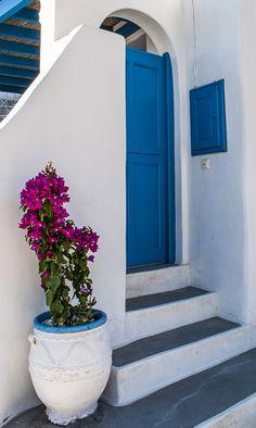 On the streets of Tholaria village Blue Doors, Greece Islands, Bougainvillea, Mamma Mia, Beautiful Places, Villa, Stairs, Windows, Dreams