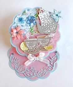 Handmade Mother's Day card using Crafter's Companion Vintage Tea Party Collection. Melissa Oeters for #crafterscompanion