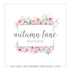 Looking for a Business Logo Design? Autumn Lane Paperie has you covered - make this Rectangle & Pink Watercolor Floral Logo yours & save on your branding!