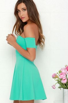 Cup Mint Green Off-the-Shoulder Dress. Spring/summer collection 2015.