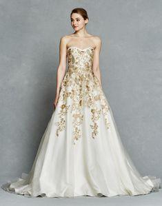 Kelly Faetanini wedding dress 2017 - gold accents ball gown #weddingdress #bridal
