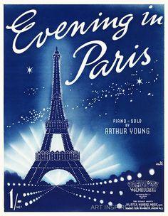 EVENING IN PARIS (vintage illustration)
