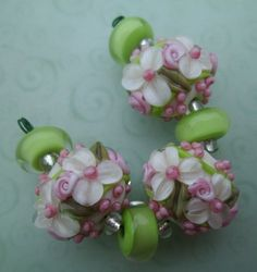 BLISS Lime and Pinks Floral Rose Ribbon Lampwork Lentil Bead Trio