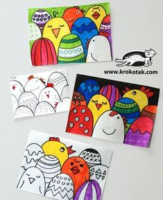 How to make an easy Easter postcard (krokotak) - Spring Art Projects, School Art Projects, Spring Crafts, Easter Projects, Easter Activities, Art Activities, Arte Elemental, Classe D'art, Easter Drawings