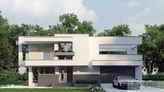 Two storey house in modern style with usable area House with a large garage. Minimum size of a plot needed for building a house is m. Modern Family, Home And Family, Modern House Facades, Balcony Doors, Two Storey House, Archi Design, Facade House, Ground Floor, Home Projects