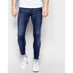 Dr Denim Jeans Kissy Low Spray On Extreme Super Skinny 2nd Hand Light... (67970 IQD) ❤ liked on Polyvore featuring men's fashion, men's clothing, men's jeans, blue, mens light wash jeans, mens low rise skinny jeans, mens blue jeans, mens skinny jeans and tall mens jeans