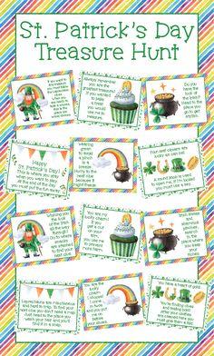 St Patricks Day Crafts For Kids, St Patricks Day Food, St Patrick's Day Crafts, Saint Patricks, St Patrick Day Treats, St Patrick Day Activities, Activities For Kids, Treasure Hunt For Kids, Treasure Hunt Clues