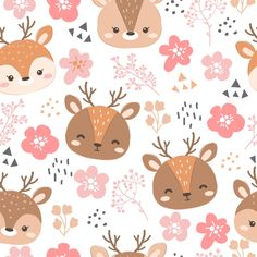 Vector Pattern, Digital Pattern, Pattern Design, Gold Pattern, Pink Pattern Background, Balloon Animals, Baby Animals, Cute Patterns Wallpaper, Baby Prints