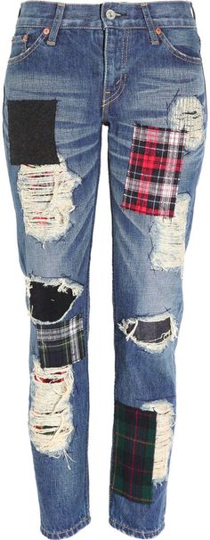 Patchwork plaid flannel jeans. Already dreaming of fall weather.