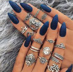 Navy blue Nails Glitter