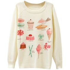 Ladies Cake Printed Crew Neck Pullover Sweater White ($15) ❤ liked on Polyvore featuring tops, sweaters, white, white pullover sweater, crewneck pullover, white pullover, white top and pullover tops
