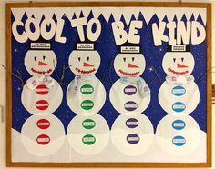 Love this character building winter bulletin board idea from Barbara Gruener! Check it out along with hundreds of other fun bulletin boards here: http://www.mpmschoolsupplies.com/ideas/6895/cool-to-be-kind-winter-character-building-bulletin-board/