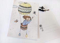 """Postkarte """"Ballonfahrt"""" de HerrPfeffer por DaWanda.com"""