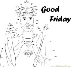 Download or print Jesus Christ dot to dot printable worksheet from Holidays,Good-Friday connect the dots category.