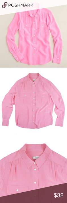 "JCREW Pink 100% Silk Blythe Shirt Blouse Size - 6  This pink 100% silk blythe blouse from JCREW is in great condition! It features button closures and front pockets. Made of 100% silk.   Measures:  Bust 40"" Total Length: 24"" Sleeves: 24.5"" J. Crew Tops Blouses"