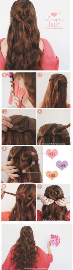 1.Start by adding a wave to your hair. 2. Put your hair half up, separating into two small ponytails right next to each other. 3. Twist the right ponytail in a downward motion and slide a bobby pin into the base near the ponytail holder. This will keep it anchored as you twist. 4. Wrap the ponytail up and over as you see in photo 4 to create the top of the heart. Keep twirling in same direction. 5.Add bobby pins to these 3 places. 6.Repeat 7. Add one more bobby pin at the bottom.