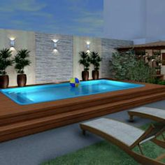 Here you will find photos of interior design ideas. Backyard Pool Designs, Small Backyard Pools, Swimming Pool Designs, Swimming Pools, Outdoor Garden Rooms, Garden Pool, Above Ground Pool Decks, In Ground Pools, Outdoor Metal Wall Decor