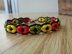 Jamaican Summer SuperDuo Rosette Bracelet by WescottJewelry - pattern available!
