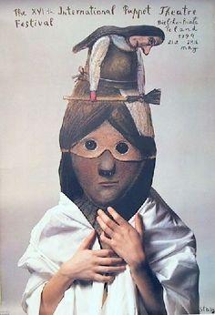 Poster - International Puppet Theater Festival in Bielsko-Biala, Poland (artist: Stasys Eidrigevicius)