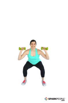 Dumbbell Squat with Calf Raise and Overhead Press Exercise Demonstration via Dumbbell Squat, Dance Workout Videos, Leg Day Workouts, Overhead Press, Calf Raises, Senior Fitness, Physical Fitness, Squats, Training