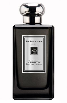 Jo Malone London, Jo Malone 'Dark Amber  Ginger Lily' Cologne Intense,  $145.00, Item #589590. Rare Kyara wood. Prized in the Kohdo ceremony, the highly ritualized Japanese art of incense appreciation. Enriched with amber and black orchid. Illuminated by the clean sensuality of black cardamom, ginger and water lily. Calm and relaxing. 3.4 oz