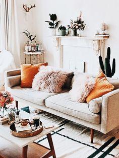 - - - - Home interior Design Living Room Kitchens Living Room Orange, Boho Living Room, Living Room Interior, Living Room Furniture, Furniture Storage, Orange Room Decor, Bright Living Room Decor, Living Rooms, Furniture Redo