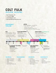 Timeline: Hire Me | Resumé by Colt Fulk, via Behance