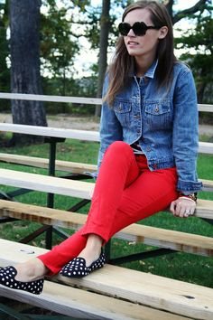 jillgg's good life (for less) | a style blog: my outfit: red denim for fall!