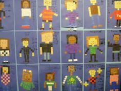 Area, perimeter and fractions!!!    Students are only allowed to use whole and half squares for ease of counting later on. They construct their portrait and are then responsible for determining the fractional amounts of squares for each color.