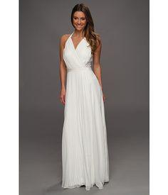 Jessica Simpson Cross Bodice Halter Gown w/ Contrast Lace